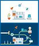 Concept mobile de vente Achats en ligne Propriétaires faisant des emplettes au supermarché Affaires d'investissement delivery illustration libre de droits
