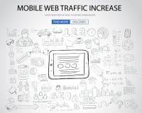 Concept mobile du trafic de Web avec le style de conception de griffonnage illustration libre de droits