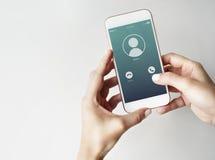 Concept mobile entrant de communication d'appel Image libre de droits