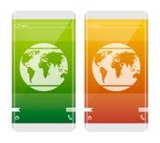 Concept mobile La terre sur l'écran Téléphone avec le bord incurvé Jour de terre Photos libres de droits