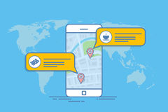 Concept of a mobile map or navigator. Pop-up dialog box with object description on the map. Thin line vector. Illustration Stock Photos