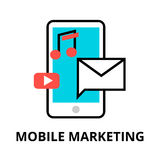 Concept of mobile marketing. Modern flat thin line design vector illustration, concept of mobile marketing, internet marketing idea and new market trends Stock Photos