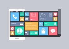 Concept mobile moderne plat d'interface utilisateurs Photo libre de droits
