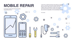 Concept of mobile phone repair. Horizontal banner with smartphone and tools. Service electronic technic. Colorful vector royalty free illustration