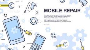 Concept of mobile phone repair. Horizontal banner with smartphone and tools. Service electronic technic. Colorful vector. Line art background with place for Stock Photography