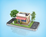Concept of mobile store. Stock Image