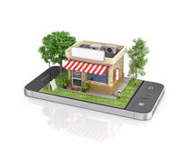 Concept of mobile store. Royalty Free Stock Photos