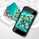 Concept with mobile telephone and down load doodle monsters. Concept with mobile telephone visit cards and picture of down load doodle monsters for down load royalty free illustration
