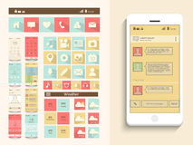Concept of mobile user interface. A complete presentation of user interface with web layout and mobile icons on beige background Royalty Free Stock Images