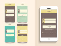 Concept of mobile user interface with login layout. Royalty Free Stock Photography
