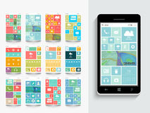 Concept of mobile user interface with template. Royalty Free Stock Photos