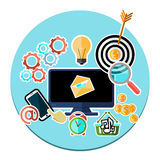 Concept of mobile and web services, applications. Concept icon of mobile and web services, applications with computer surrounded services pictograms flat design Royalty Free Stock Photography