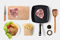 Concept of mockup bbq steak and french fries set  on whi Stock Photo