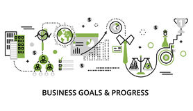 Concept of modern business goals and progress. Modern editable line design vector illustration, concept of modern business goals and progress in greenery color Royalty Free Stock Images