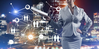 Concept of modern business networking that connect and cooperate people Royalty Free Stock Photography