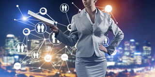 Concept of modern business networking that connect and cooperate people Stock Photos