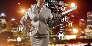 Concept of modern business networking that connect and cooperate people Stock Photography