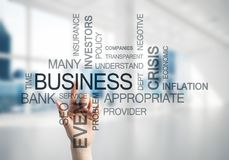 Concept of modern business with palm choocing on of keywords for Royalty Free Stock Images