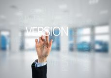Concept of modern business with palm choocing on of keywords for success Stock Image