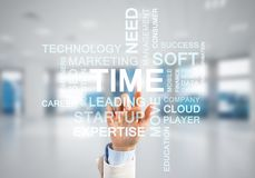 Concept of modern business with palm choocing on of keywords for success Stock Photography