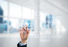 Concept of modern business with palm choocing on of keywords for success Royalty Free Stock Image