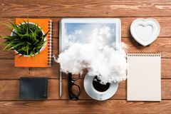 Concept of modern business workplace. stock images
