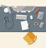 Concept of modern business workspace in flat Royalty Free Stock Photography