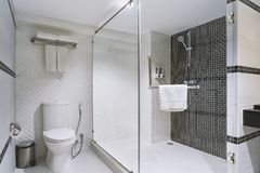 Concept of modern decoration design of bathroom for luxury hotel, residential stock image