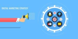 Digital marketing mechanism - hand holding megaphone. Flat design banner. Royalty Free Stock Image