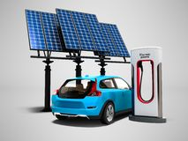 Concept modern refueling with solar panels for electric cars back view 3d render on gray background with shadow stock illustration
