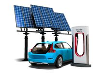 Concept modern refueling with solar panels for electric cars back view 3d render on white background with shadow vector illustration
