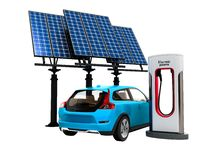 Concept modern refueling with solar panels for electric cars back view 3d render on white background no shadow vector illustration