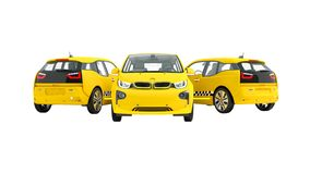 Concept of modern three yellow taxi electric car 3d rendering on royalty free illustration