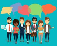 Concept of modern young business dialogue. The concept of modern young business dialogue. Speech bubbles in the form of puzzles. Happy business team Stock Image