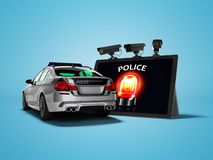 Concept moderne d'appeler la voiture de police par l'Internet 3d pour rendre sur le fond bleu avec l'ombre illustration stock