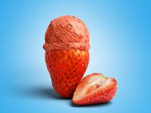 concept moderne de crème glacée de fruit un Li de boule de crème glacée de fraise Images stock