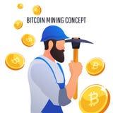 Concept moderne de Digital crypto exploitation Image libre de droits