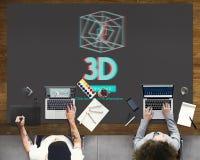 concept moderne de l'affichage 3D futuriste tridimensionnel Image stock