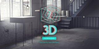 concept moderne de l'affichage 3D futuriste tridimensionnel Image libre de droits