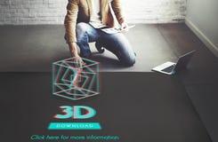 concept moderne de l'affichage 3D futuriste tridimensionnel Photo libre de droits