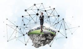 Concept moderne draadloze technologieën als efficiënt hulpmiddel voor zaken royalty-vrije stock foto