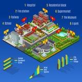 Concept moderne isométrique d'Infographic de ville illustration de vecteur