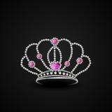 Concept modieuze diamantkroon royalty-vrije illustratie