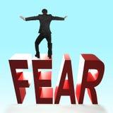 Concept moed, die vrees en ongeluk overwinnen Stock Foto
