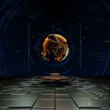 Concept mondial d'affaires avec l'hologramme du globe 3D et les détails futuristes Photo libre de droits