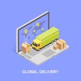Concept mondial de la distribution Style isométrique, vecteur Photo libre de droits