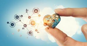 Concept mondial de technologie de media Media mélangé Image stock