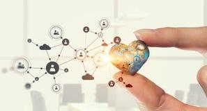 Concept mondial de technologie de media Media mélangé Images libres de droits