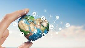 Concept mondial de technologie de media Media mélangé Photographie stock