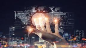 Concept mondial de technologie de media Media mélangé Photos stock